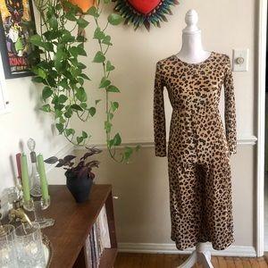Vintage Pleated Leopard Jumpsuit